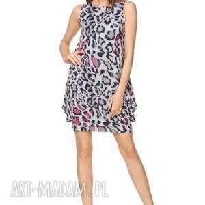 Sukienka elegancka z fikuśnym dołem t227, wzór panterka sukienki
