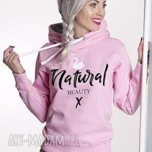 Prezent Bluza Natural Beauty Róż!, nadruk, prezent, kangurka, lato, pastelowa