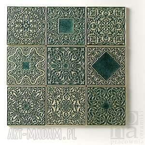kafle dziewięć ornamentów zielone, dekory, kafle, płytki, ścienne, ornamentowe