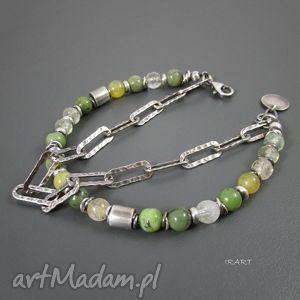bransoletki zielono-żółta z masywnym łańcuszkiem, srebro, nefryt, rutyl