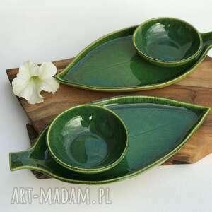 zestaw ceramiczny dla dwojga - 2 x talerz liść plus miseczka, ceramika
