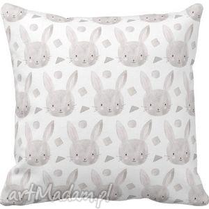 Poszewka na poduszkę dziecięca szare 3049 , poszewka, królik, króliczki