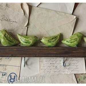 hand-made wieszaki wieszak ze szmaragdowymi ptaszkami 40
