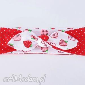 dzianinowa opaska pin up truskawki - ,opaska,dresowa,dzianinowa,truskawki,słodka,pinup,