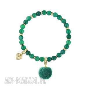 bransoletka z agatów z pomponem - i ♥ pom poms - kamienie naturalne