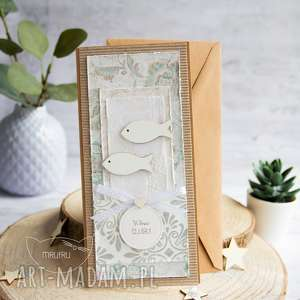 kartka ślubna z rybkami koperta personalizacja, ślubna, na ślub