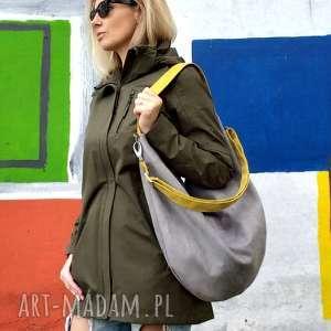 ręcznie wykonane torebki szara torba worek z musztardowymi paskami