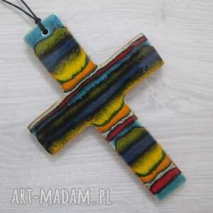 dekoracje krzyżyk ceramiczny artystyczny, komunijny, krzyż, dewocjonalia