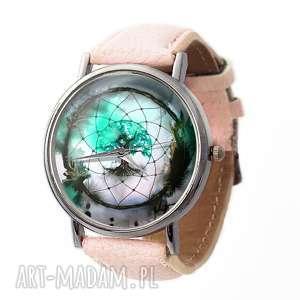 Dreamcatcher - Skórzany zegarek z dużą tarczą, dreamcatcher, łapacz, snów, drzewo