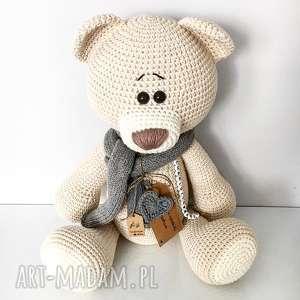 maskotki duży szydełkowy miś me to you - beżowy, crochet, miś, chrzciny, baby