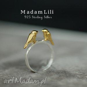 925 srebrny pierścionek para ptaków - ptaki, pieścionek, srebro, lato