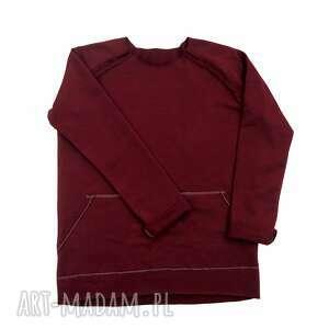 bluza basic bordowa, bluza, surowa, bordo, dziecięca, bawełna, raglan