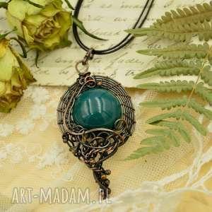 RETRO BLUE - NASZYJNIK Z CERAMIKĄ, naszyjnik, wisior, amulet, retro, ceramika, kula