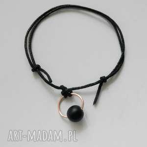 okrąg bransoletka, brąz, kamień, sznurek, pod choinkę prezent