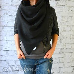 chustki i apaszki chusta xxl czarna, bawełniany szal, bawełniana chusta, miękka