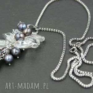 naszyjnik wisior kryształ górski i perły naturalne - naszyjnik wisior