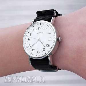 zegarek - kanji czarny, nato, zegarek, bransoletka, japoński, unikatowy