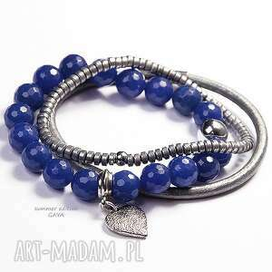 gaya summeredition navy blue silver, skóra, naturalna, serce, hematyt, jadeit