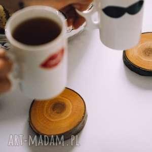 drewniane podkładki pod kubek 2 sztuki czereśnia, rustyklane, skandynawskie