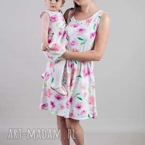 sukienki komplet sukienek oktawia dla mamy i córki takie same, jersey, kwiaty