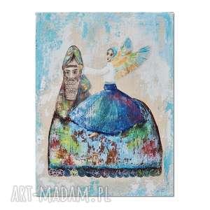 Anioł Der i Lamassu, obraz ręcznie malowany,