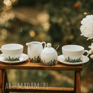 ręcznie zrobione kubki zestaw do kawy i herbaty dwie filiżanki, cukiernica, mlecznik