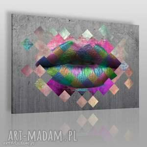obraz na płótnie - metaliczne usta 120x80 cm 36801, usta, metaliczny, romby
