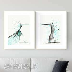 zestaw 2 grafik 30x40 cm wykonanych ręcznie, taniec, abstrakcja, 2652147, obraz