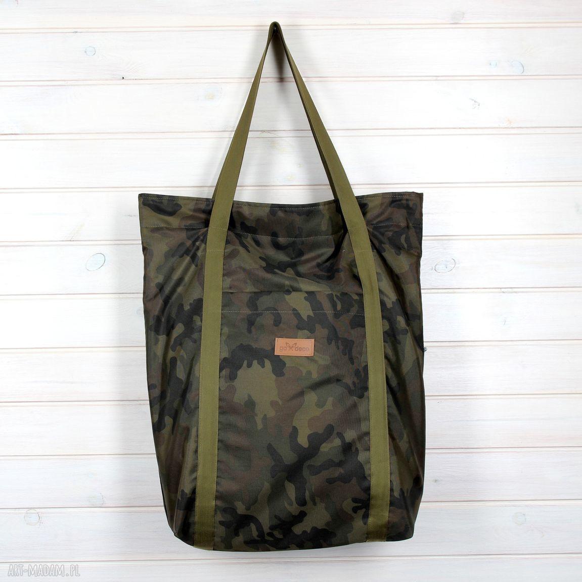 hand-made na ramię nieprzemakalna pojemna torba moro xxl