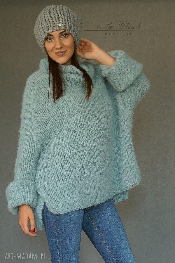 sweter swetry oversize w bladej morskiej
