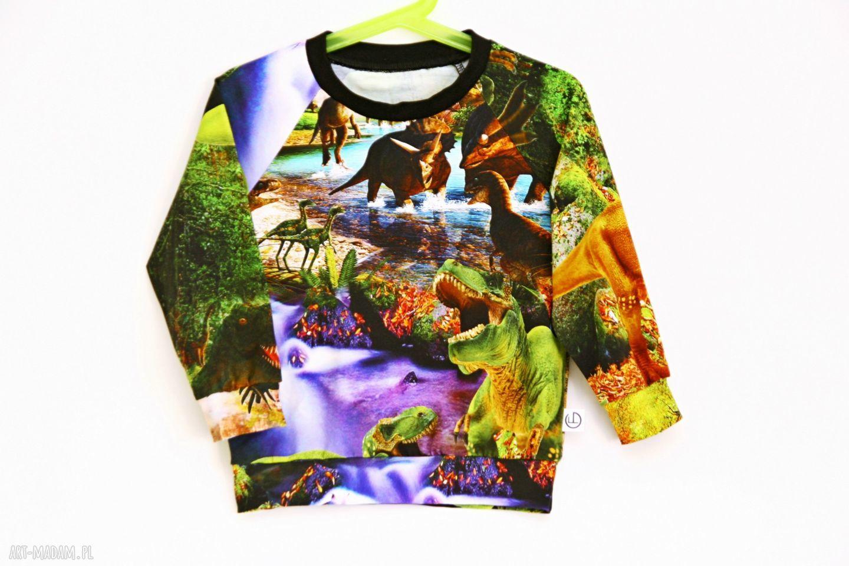 ręcznie zrobione ubranka dinozaury bluza - kraina dinozaurów