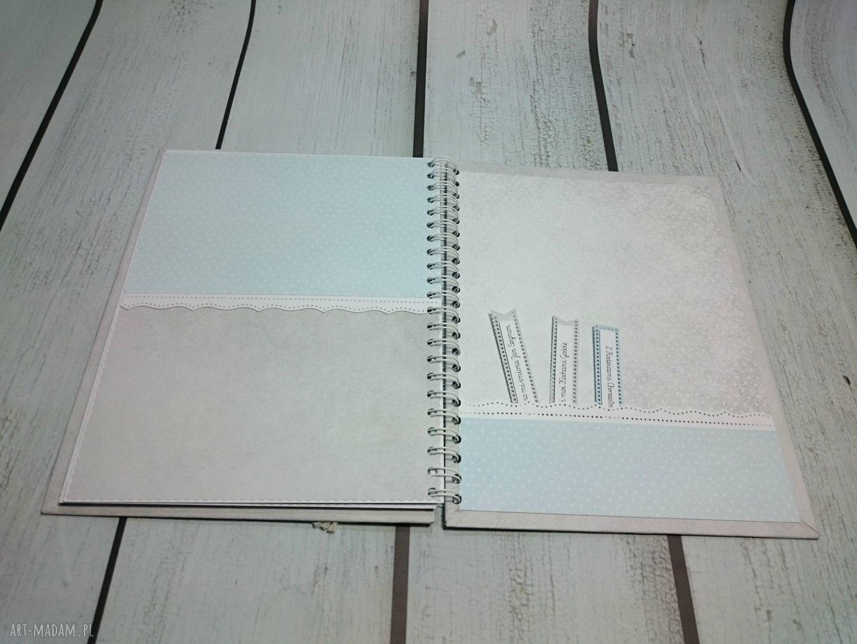 scrapbooking albumy narodziny zestaw - album w pudełku z kartką
