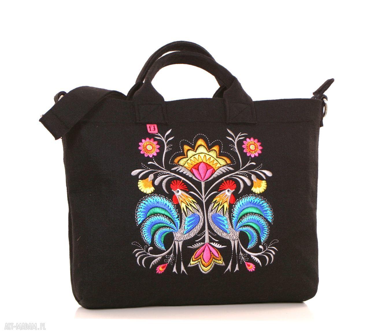 handmade na laptopa ciemna filcowa torba z folkowymu kogutami