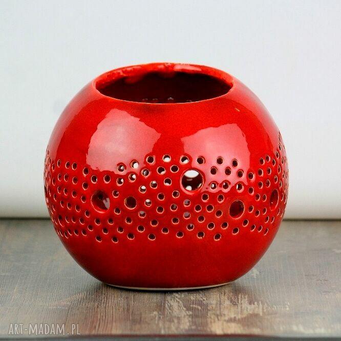 gustowne ceramika lampion ball czerwony