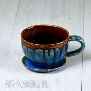 kubki ceramiczna filiżanka xl w kolorze brązu i pomarańczu - 450 ml rękodzieło na