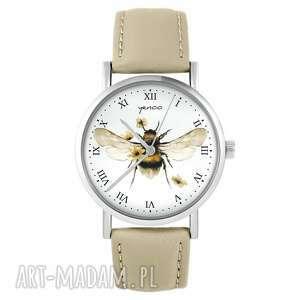 hand-made zegarki zegarek yenoo - bee natural skórzany, beżowy