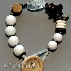 ręcznie wykonane biała modna bransoletka stylu boho unikat handmade dla kochającej duch