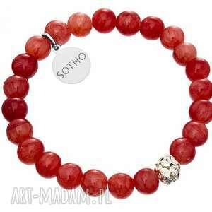 sotho dziecięca czerwona bransoletka marmur malinowy, swarovski