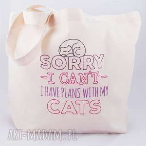 eko torba zakupowa - ,torba,bawełniana,siatka,kot,kotek,haft,