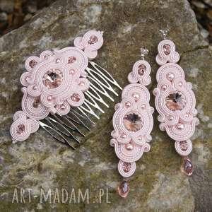 komplet ślubny glamire light rose soutache, zestaw, rękodzieło, kolczyki