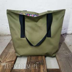 na ramię wyprzedaż shopper bag khaki babciny ogródek saszetka, shopperbag, torba