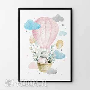 Plakat obraz odlotowy zajączek różowy 50x70 cm b2 pokoik dziecka