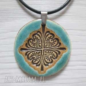 ethno turkusowy naszyjnik, biżuteria ceramiczna, naszyjnik ceramiczny
