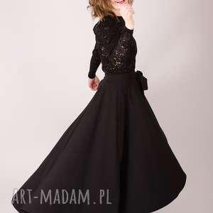 Czarna spódnica maxi z koła , elegancka, prosta, dopasowana, maxi, rozłożysta, długa