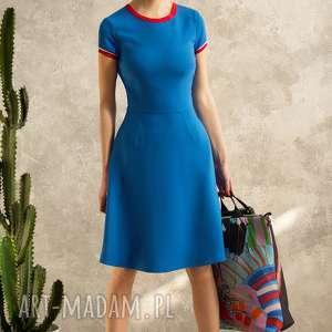 sukienka z lamówkami blue voyage, sukienka, lamówki, elegancka, uniwersalna, midi