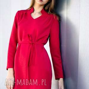 sukienki sukienka reno, koszulowa, midi, stójka, plisy, luźna, szykowna