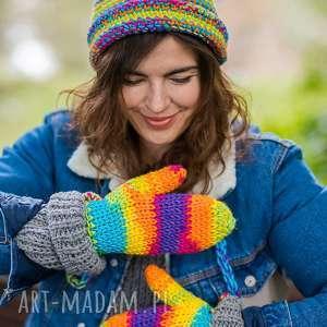 rękawiczki rainbow, rękawiczki, ciepłe, kolorowe, wełniane, na zime, polskie