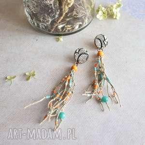 Kolorowe kolczyki z lnem sirius92 wiszące, boho, boho biżuteria