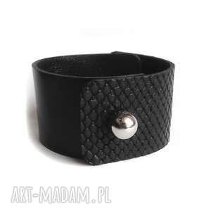 handmade bransoletka skórzana czarna wężowa