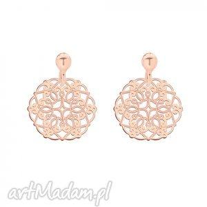 kolczyki z rozetkami z różowego złota - minimalistyczne